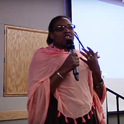 E. Mukeshimana, Rwandan Genocide Survivor, '18