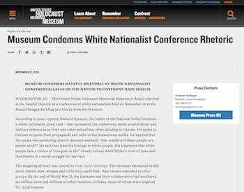 Screenshot of United States Holocaust Memorial Museum press release