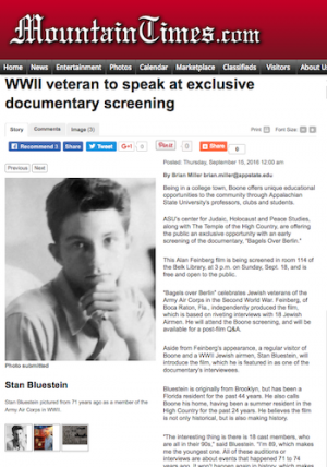 Mountain Times article about WWII veteran Stan Bluestein's presentation at documentary screening