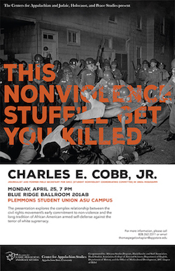 "A lecture by Charles E. Cobb, Jr., entitled ""This Nonviolent Stuff'll Get You Killed: How Guns Made the Civil Rights Movement Possible"" poster by Anna Cantrell"