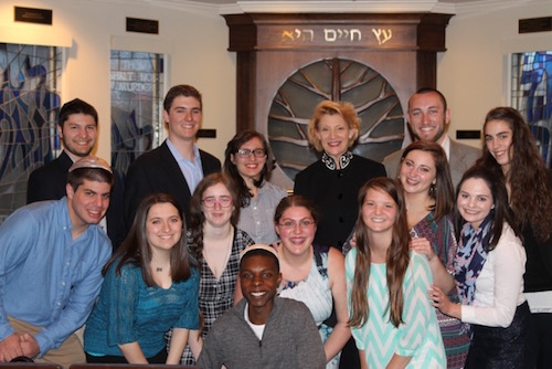 Hillel members and Chancellor Sheri N. Everts