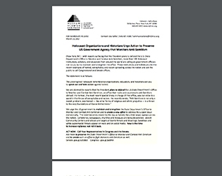 Screen shot of letter by Holocaust Organizations and Historians