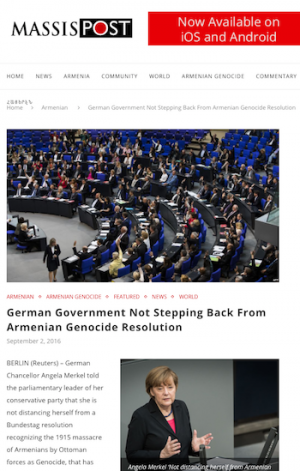 MassisPost September 2, 2016 article about Armenian Genocide Resolution with image of German parliament
