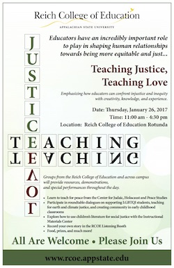 teaching justice, teaching love event flyer